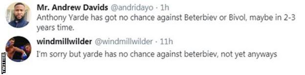 Boxing fans on Twitter say Anthony Yarde has no chance of beating any of the current light-heavyweight champions