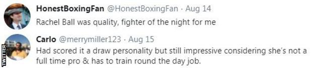 "Boxing fans pay tribute to Rachel Ball after the social worker beat Shannon Courtenay. One fan said she was the ""fighter of the night"""