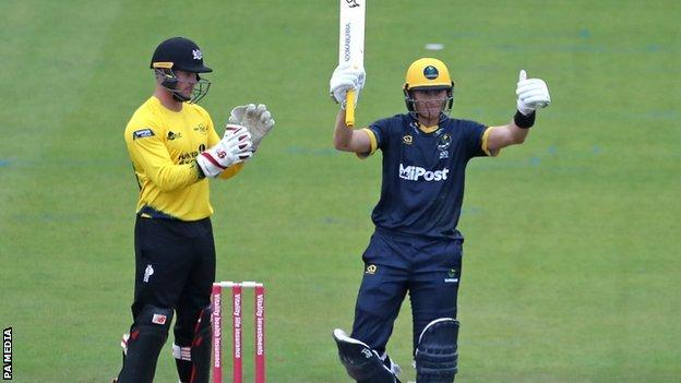 Australian star Marnus Labuschagne finished just seven short of a century on his Glamorgan T20 debut