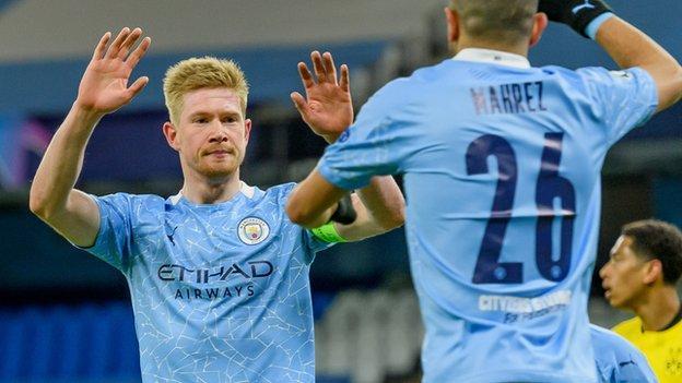 Kevin De Bruyne of Manchester City celebrates scoring against Borussia Dortmund