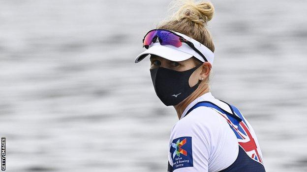 Victoria Thornley wears a mask on the water