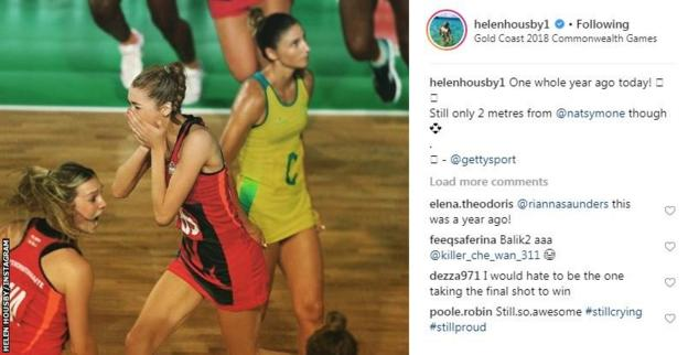 Helen Housby Instagram post remembering the Commonwealth gold medal from 2018