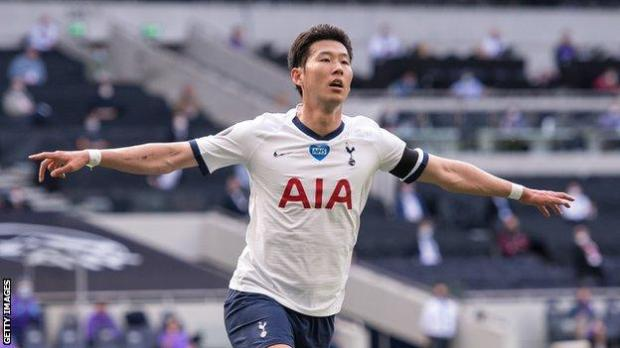 Tottenham forward Son Heung-min celebrates scoring against Arsenal in the north London derby