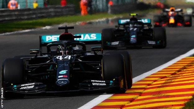 Lewis Hamilton ahead of Valtteri Bottas and Max Verstappen