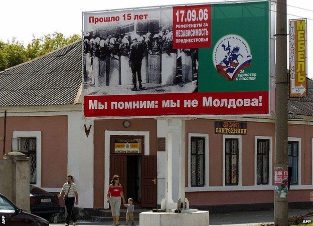A sign in Trans-Dniester reads: 'We remember: We are not Moldova!'