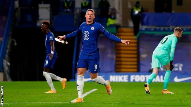 Ross Barkley celebrates scoring for Chelsea against Barnsley in the Carabao Cup