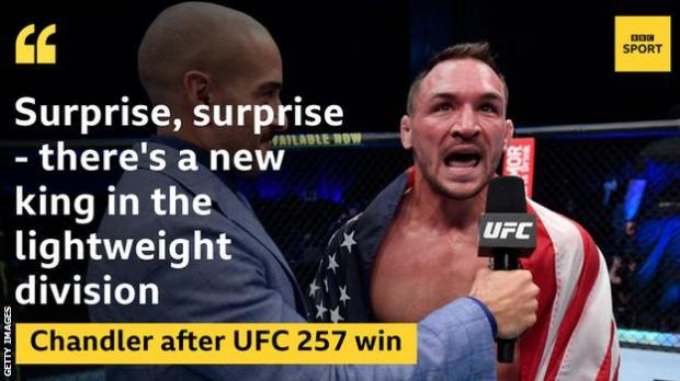 Michael Chandler doing his post-fight interview after winning at UFC 257