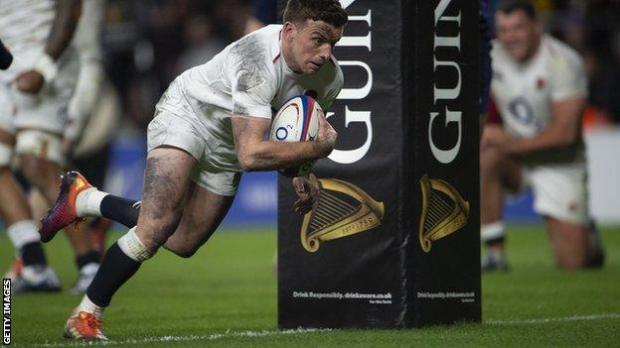 George Ford scores a try