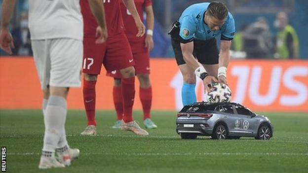 The match ball for the opening game at Euro 2020 was brought onto the pitch by a remote controlled car