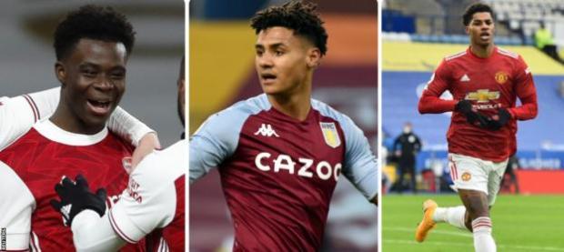 Bukayo Saka of Arsenal, Ollie Watkins of Aston Villa and Manchester United's Marcus Rashford