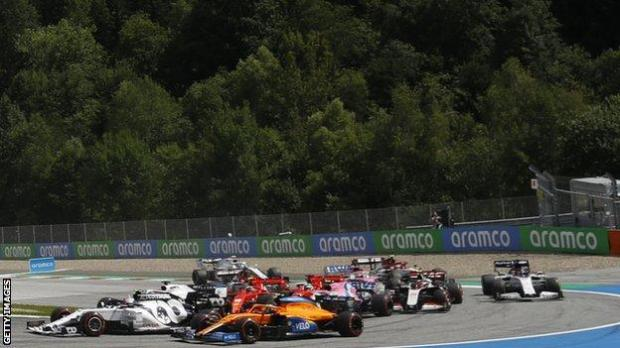 Ferraris collide during the Styrian GP