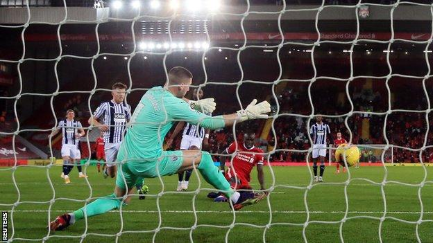 Sadio Mane gives Liverpool the lead over West Bromwich Albion at Anfield