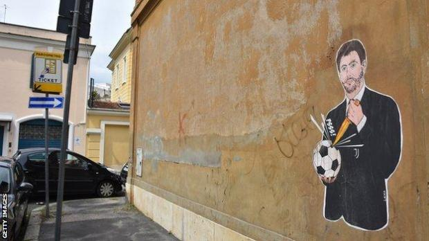 Mural of Juventus chairman Andrea Agnelli is seen on a wall at Giulio Caccini Street behind the headquarters of Italian Football Association (FIGC) in Rome