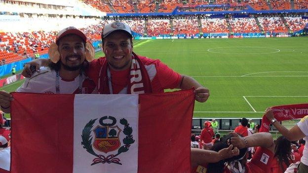 Peru fans Pedro and Alexis