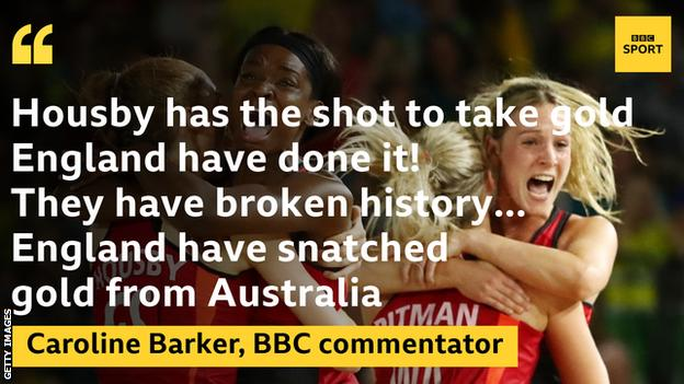 """Graphic of a quote from BBC commentator Caroline Barker: """"Housby has the shot to take gold... England have done it. They have broken history... England have snatched gold from Australia"""