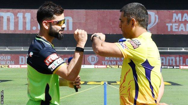Royal Challengers Bangalore captain Virat Kohli and Chennai Super Kings captain MS Dhoni