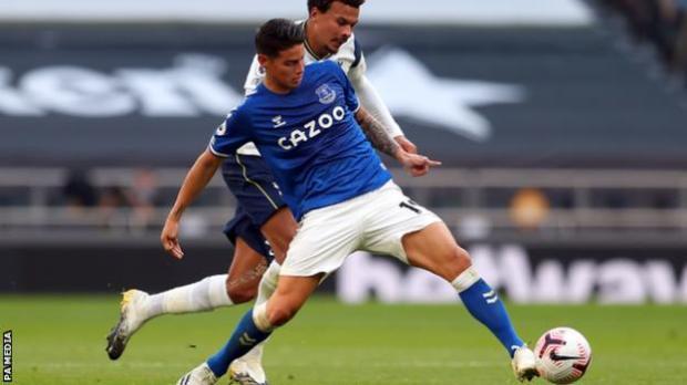James Rodriguez in action for Everton against Tottenham
