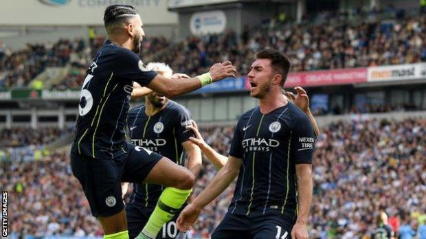 Mahrez (left) and Laporte (right) are unable to train with other Manchester City players while they self isolate