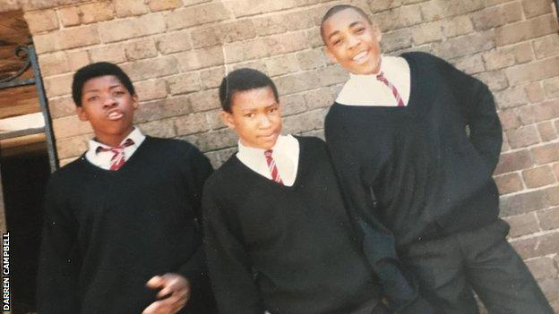 Darren Campbell pictured during his school days with two friends