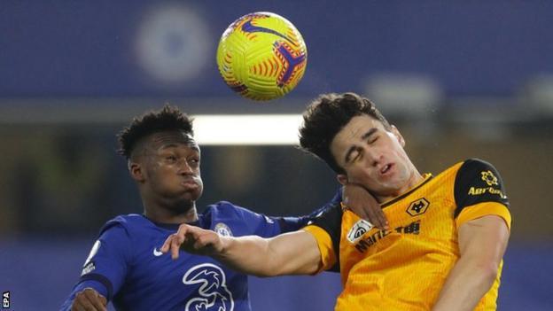 Chelsea's Callum Hudson-Odoi challenges Wolverhampton Wanderers' Max Kilman during a game in the Premier League