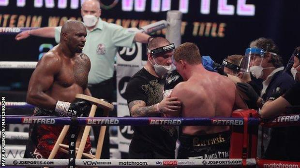Whyte was keen to help Povetkin as the Russian recovered from the knockdown in his corner and carries a stool for him to sit on