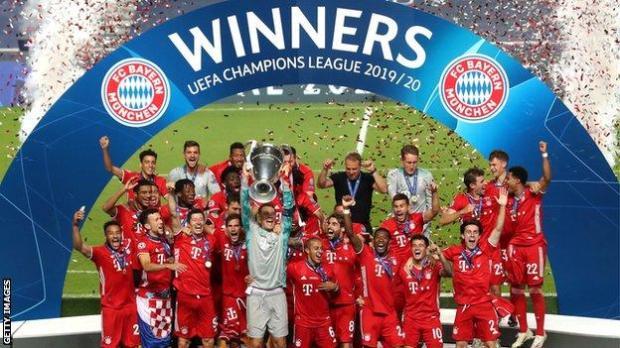 Bayern Munich lifting the Champions League trophy