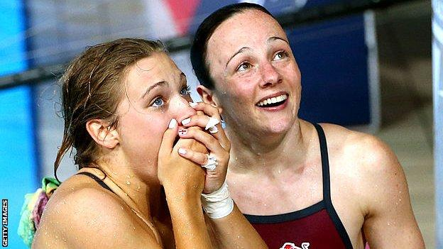 University College London - Alicia Blagg and Rebecca Gallantree of England react after winning the gold in the Women's Synchronised 3m Springboard Final
