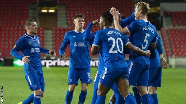 Filip Helander celebrates scoring the equaliser for Rangers
