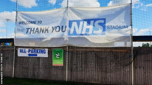 Hanbury Park, home to Haywards Heath Town, has been renamed 'The Thank You NHS Stadium' for the 2020-21 season