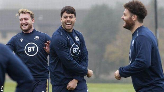Stuart Hogg, Sean Maitland and Duncan Taylor at Scotland training