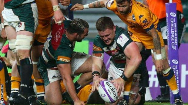 Jasper Wiese scores for Leicester Tigers