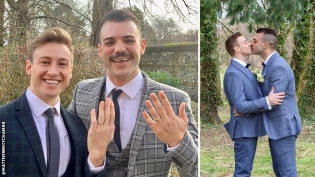 A split image of husbands Matthew Mitcham (left) and Luke Rutherford (right) holding up their wedding rings on the left and kissing on the right