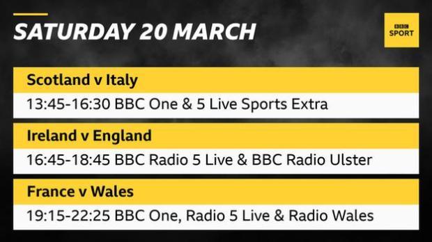 A graphic reading: Saturday 20 March. Scotland v Italy 13:45-16:30 BBC One & 5 Live Sports Extra. Ireland v England 16:45-18:45 BBC Radio 5 Live & BBC Radio Ulster. France v Wales 19:15-22:25 BBC One, Radio 5 Live & Radio Wales