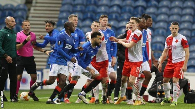 A comment from Ondrej Kudela sparked an onfield melee late in the game at Ibrox