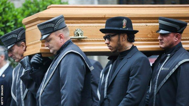 Lewis Hamilton at Niki Lauda's funeral