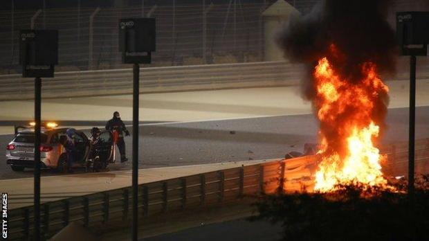 Romain Grosjean crash in Bahrain