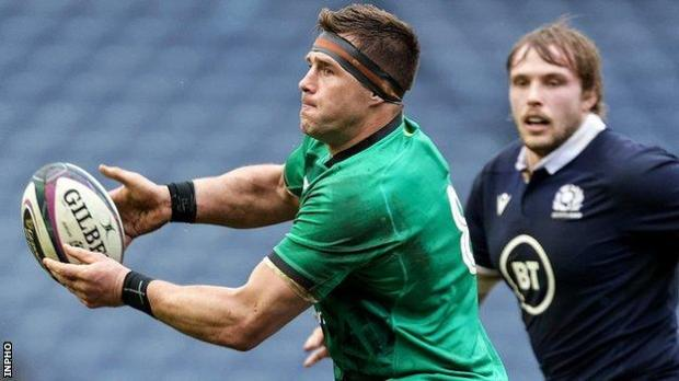 CJ Stander (left) in action at Murrayfield on Sunday