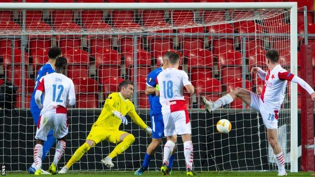 Rangers' Allan McGregor saves from Slavia Prague's Luka Masopust