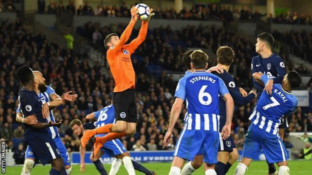 Brighton goalkeeper Mathew Ryan in action against Tottenham