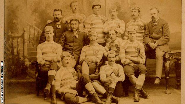 The image from 1882 is the Scotland team that defeated England 5-1 at first Hampden Park. This was the first time that the players received caps as a presentation gift and they can be seen wearing them.