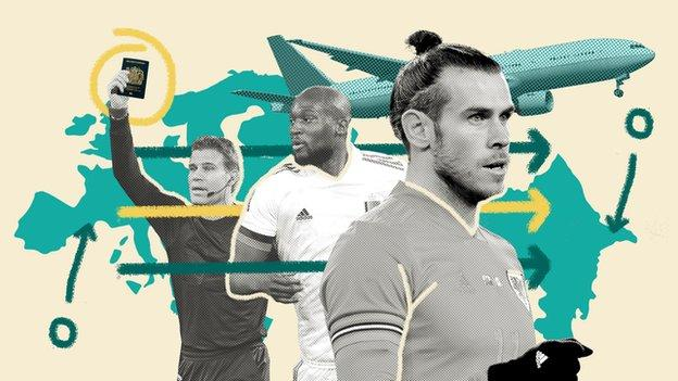 Graphic showing a plane flying over Europe, with images of Gareth Bale, Romelu Lukaku and a referee