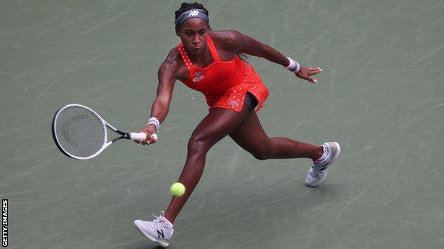 sport Coco Gauff prepares to hit a forehand