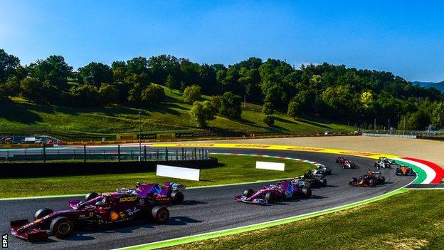 Cars on track at the Tuscan Grand Prix