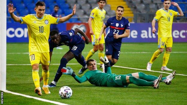 France go close to scoring during a World Cup qualifying match away to Kazakhstan