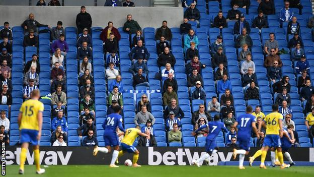 Socially distanced fans watch a pre-season friendly between Brighton and Chelsea