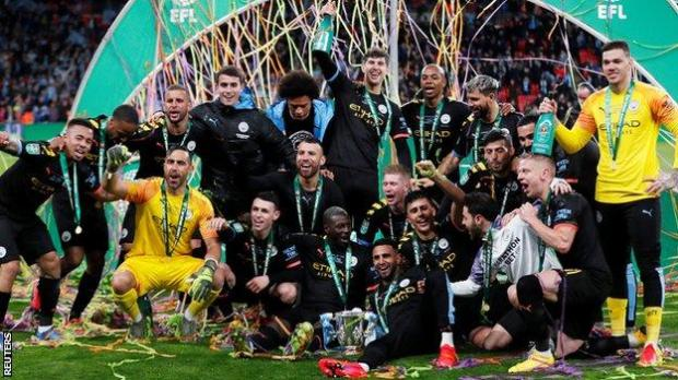 Manchester City celebrate winning the 2020 Carabao Cup - they have won the competition in each of the past three seasons and in four of the past five campaigns