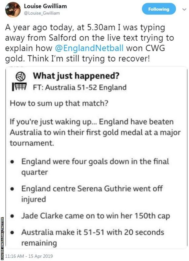 Image of a tweet from BBC Sport's Louise Gwilliam saying she thinks she might still be trying to recover from the drama of a year ago