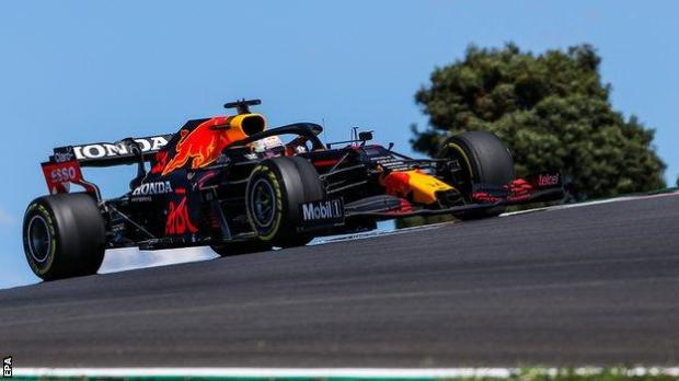 Max Verstappen on track at Portimao