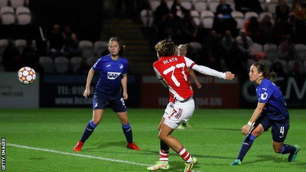 , Heath scores first goal as ruthless Arsenal brush aside Hoffenheim, The Evepost BBC News