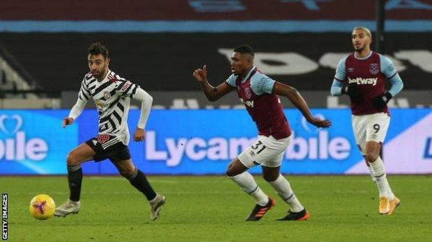Bruno Fernandes with the ball at West Ham